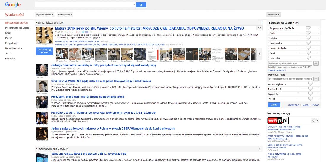 Wykaz Wiadomości Google