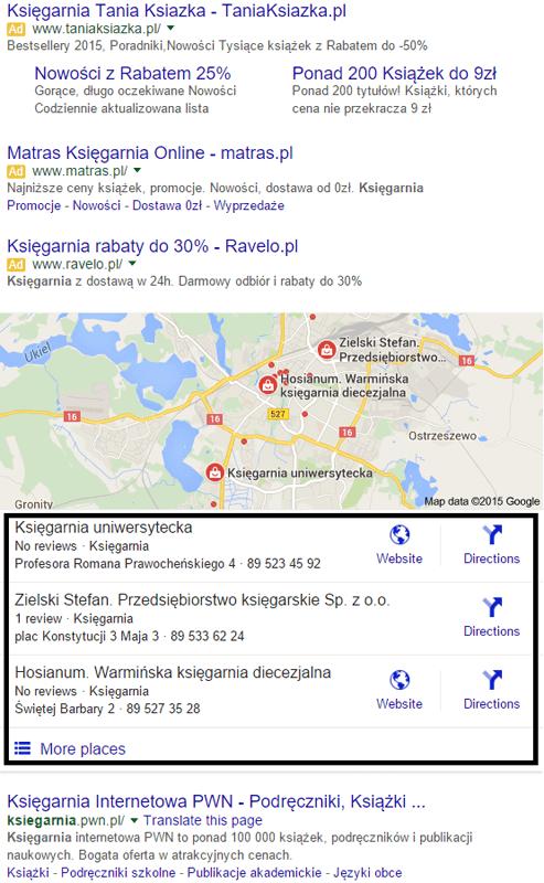 Wyniki wyszukiwania w Google Maps