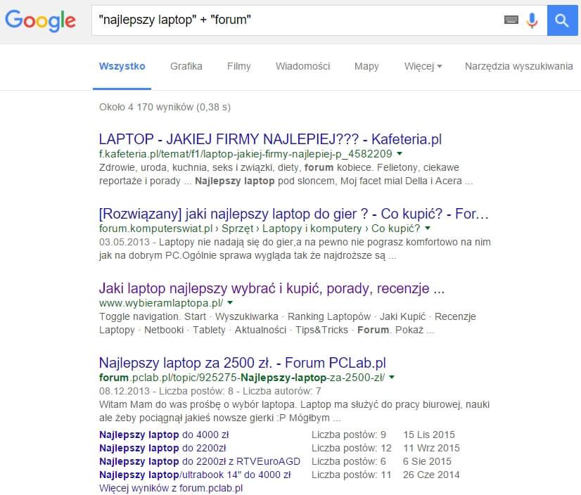 Wyszukiwanie słów kluczowych na forach i dyskusjach