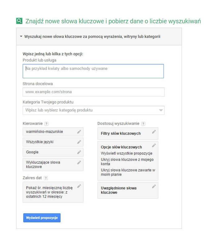 Google Planer - wyszukiwanie słów kluczowych