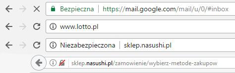 Przykład różnych oznaczeń certyfikatu SSL