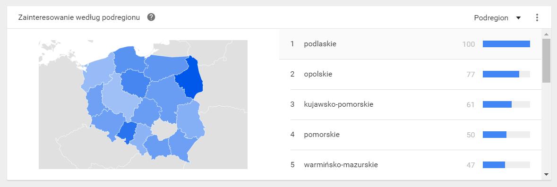 Zainteresowanie Google Trends - lokalizacja