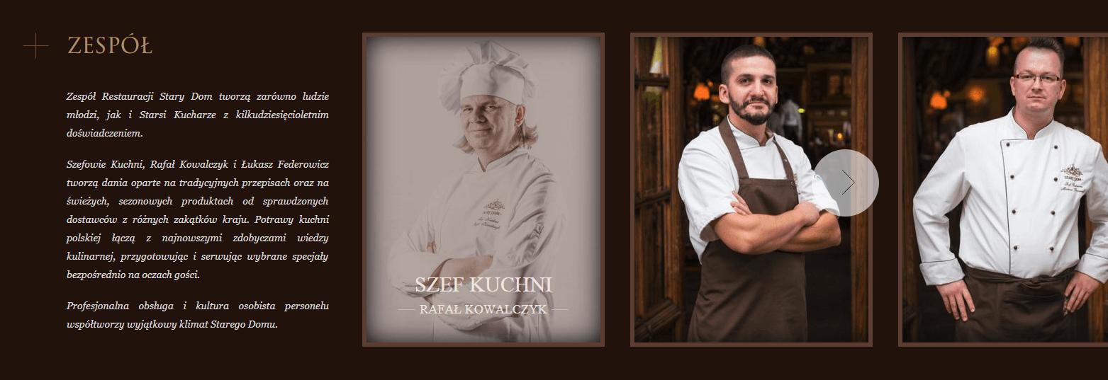 Strona internetowa dla restauracji - zespół