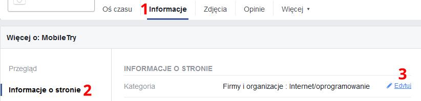 Zmiana kategorii na Facebooku