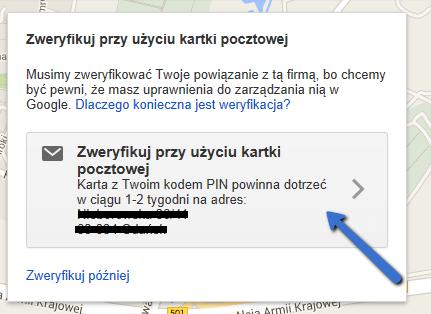 Zweryfikuj adres firmy w Google Moja Firma