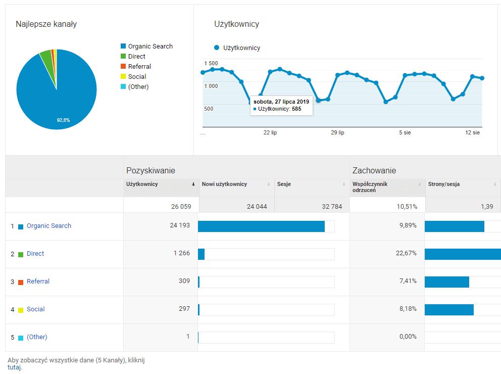 Google Analytics a strona internetowa - źródło wizyt